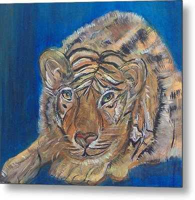 Contented Tiger Metal Print by Mikki Alhart