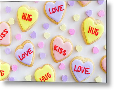 Metal Print featuring the photograph Conversation Heart Cookie Love by Teri Virbickis