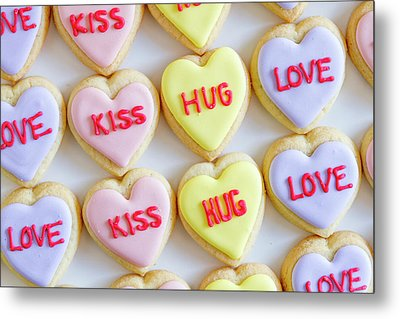 Metal Print featuring the photograph Conversation Heart Decorated Cookies by Teri Virbickis