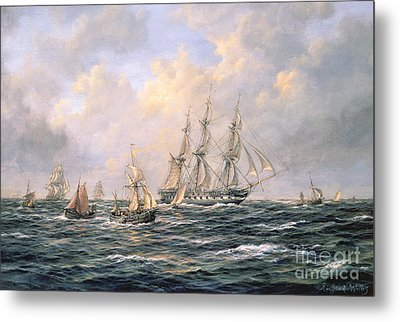 Convoy Of East Indiamen Amid Fishing Boats Metal Print