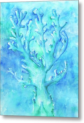 Cool Blue Coral Metal Print
