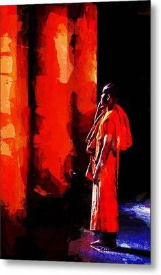 Cool Orange Monk Metal Print