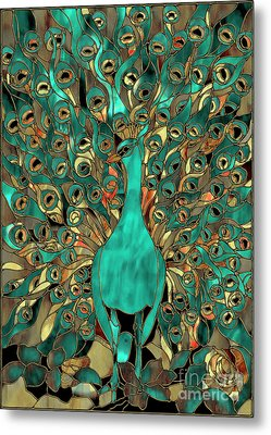Copper And Aqua Peacock Metal Print by Mindy Sommers