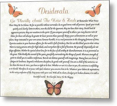 Copper Butterfly Desiderata Metal Print by Desiderata Gallery