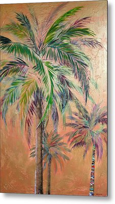 Copper Trio Of Palms Metal Print