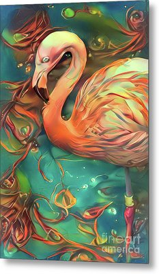Coral Flamingo On Teal Metal Print