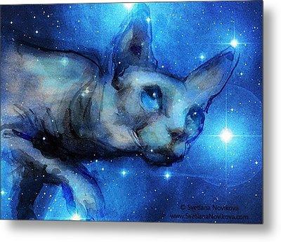 Cosmic Sphynx Painting By Svetlana Metal Print