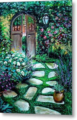 Metal Print featuring the pastel Cottage Gates by Elizabeth Robinette Tyndall