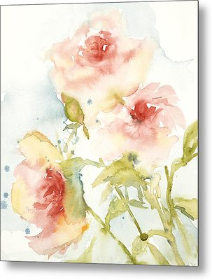 Cottage Roses Metal Print by Sandra Strohschein