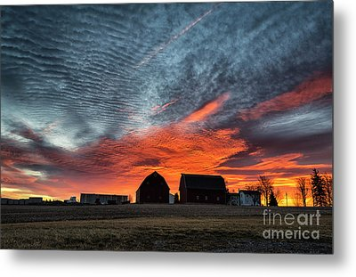 Country Barns Sunrise Metal Print