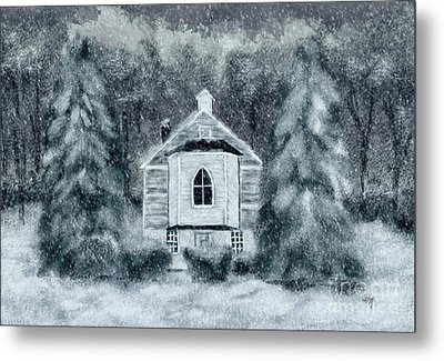 Country Church On A Snowy Night Metal Print by Lois Bryan