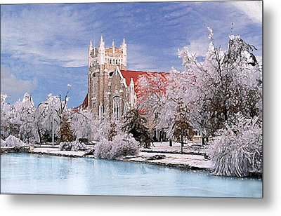 Metal Print featuring the photograph Country Club Christian Church by Steve Karol