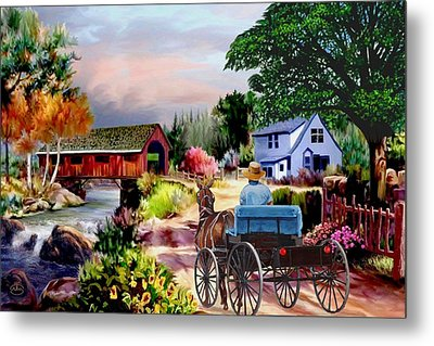 Country Covered Bridge V2 Metal Print