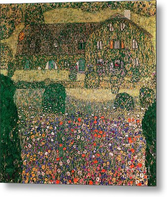 Country House By The Attersee Metal Print by Gustav Klimt