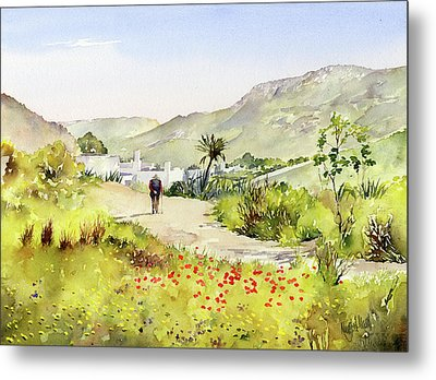 Country Lane In Spring Metal Print by Margaret Merry