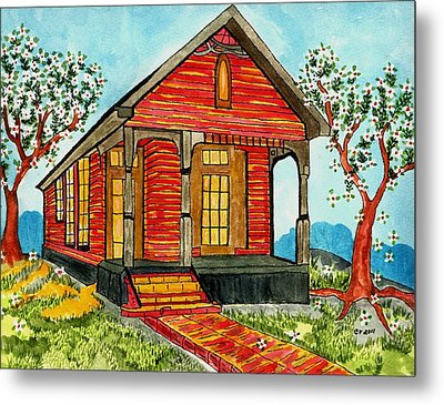 Country New Orleans Shot Gun House Metal Print by Connie Valasco