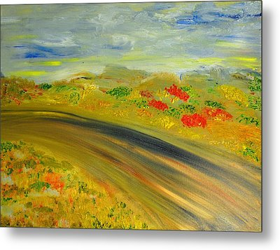 Metal Print featuring the painting Country Road by Evelina Popilian
