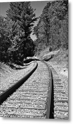 Country Tracks Black And White Metal Print