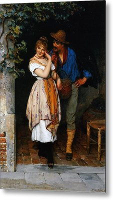 Couple Courting Metal Print by Eugen von Blaas