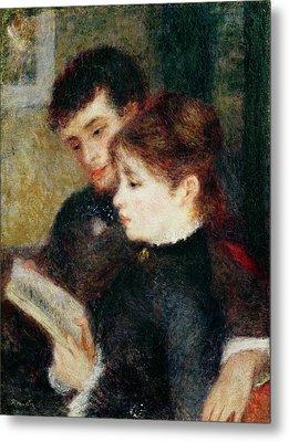 Couple Reading Metal Print by Pierre Auguste Renoir