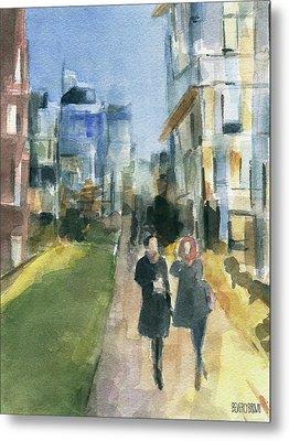 Couple Walking On The New York High Line Metal Print