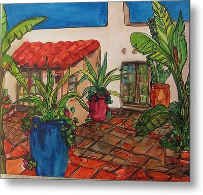 Courtyard In Rancho Santa Fe Metal Print by Michelle Gonzalez