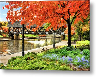 Metal Print featuring the painting Covered Bridge Along Riverwalk by Christopher Arndt