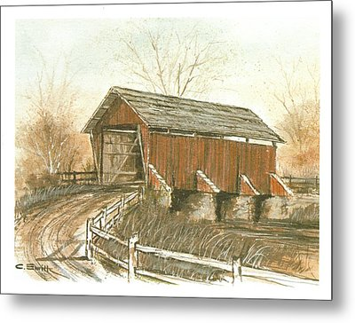 Covered Bridge Metal Print by Charles Roy Smith
