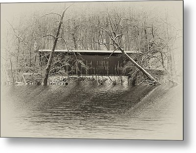 Covered Bridge In Black And White Metal Print by Bill Cannon