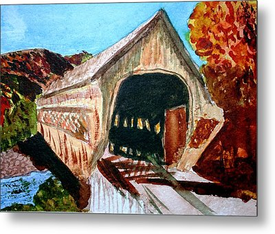 Metal Print featuring the painting Covered Bridge Woodstock Vt by Donna Walsh