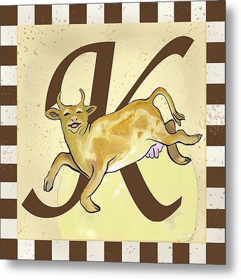 Cow Jump Over The Initialed Moon  Metal Print by Terri B Webb