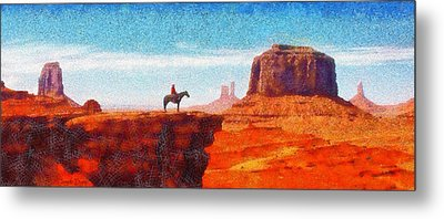 Cowboy At Monument Valley In Utah - Pa Metal Print by Leonardo Digenio