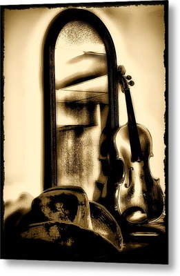 Cowboy Hat And Fiddle Metal Print by Bill Cannon