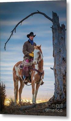 Cowboy Under Tree Metal Print