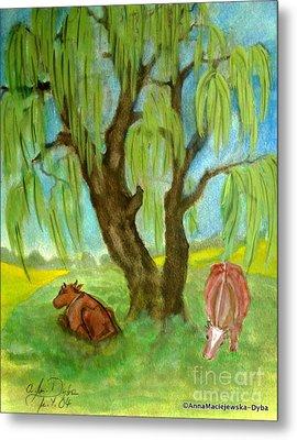 Cows On Pasture Metal Print
