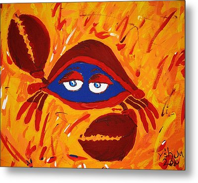 Metal Print featuring the painting Crabby by Yshua The Painter