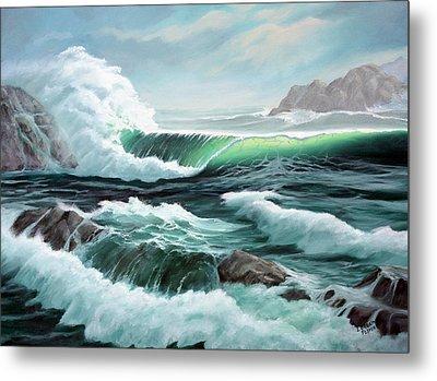 Crashing Waves Metal Print by Lorraine Foster