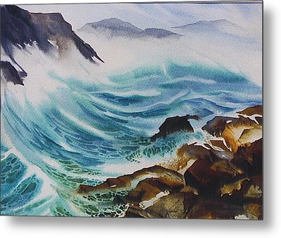 Crashing-waves Metal Print by Nancy Newman