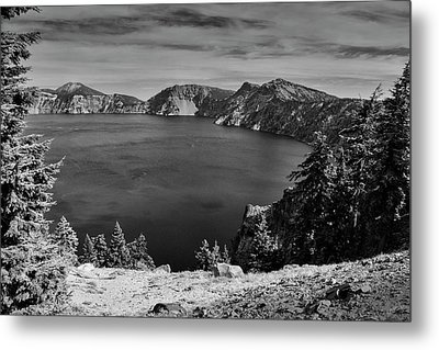 Metal Print featuring the photograph Crater Lake View In Bw by Frank Wilson