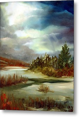 Metal Print featuring the painting Crazy Skies by Anna-maria Dickinson