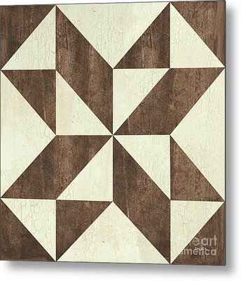 Cream And Brown Quilt Metal Print by Debbie DeWitt