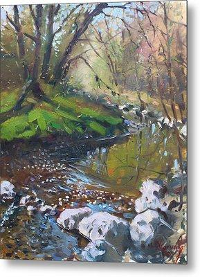 Creek In The Woods Metal Print