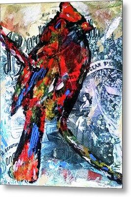 Crimson Cardinal Metal Print