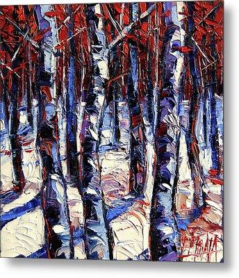 Crimson Wood - Impasto Etude Palette Knife Oil Painting Metal Print by Mona Edulesco
