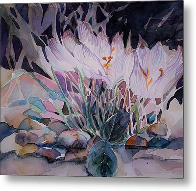 Metal Print featuring the painting Crocuses by Mindy Newman