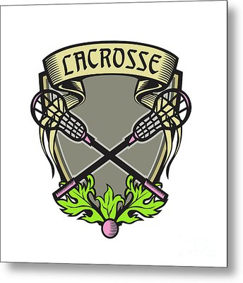 Crossed Lacrosse Stick Coat Of Arms Crest Woodcut Metal Print