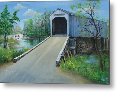 Crossing At The Covered Bridge Metal Print