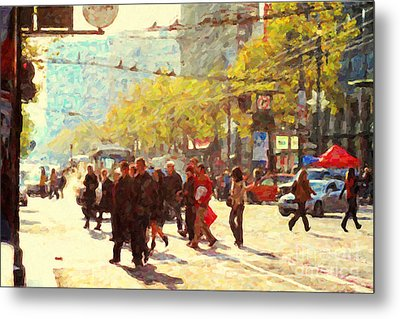 Crossing San Francisco Market Street Metal Print by Wingsdomain Art and Photography