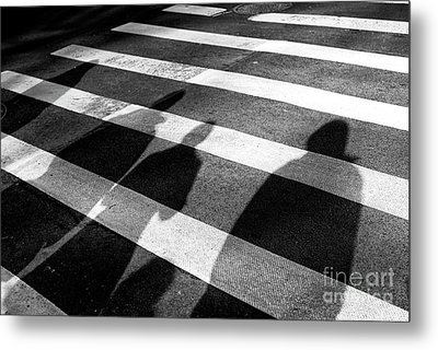 Metal Print featuring the photograph Crossings Shadow People by John Rizzuto