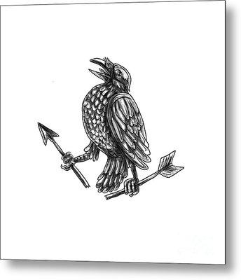 Crow Clutching Broken Arrow Tattoo Metal Print by Aloysius Patrimonio